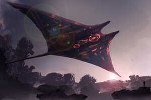 Futuristic Spaceship Science Fiction Digital Art Wallpaper
