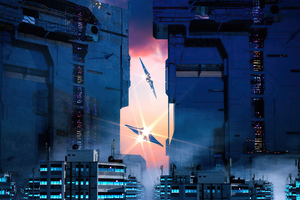 Futurustic City Scifi Otoy 5k Wallpaper