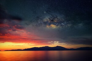 Galaxy Blended Landscape Mountains Sunset