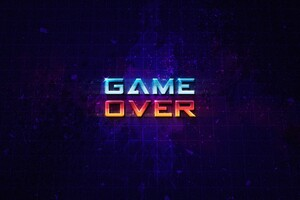 Game Over Typography Art 4k Wallpaper
