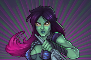 Gamora Cartoon Digital Art 4k