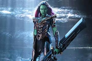 Gamora Wearing Thanos Armor 4k Wallpaper