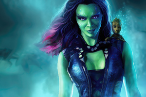 Gamora With Baby Groot Guardians Of The Galaxy Wallpaper