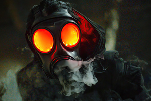 Gas Mask Glowing Eyes 5k Wallpaper
