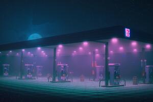 Gas Station Minimalist Wallpaper