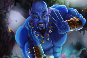 Genie In Aladdin Artwork Wallpaper