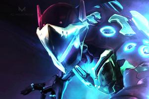 Genji Iron Man Crossover Wallpaper