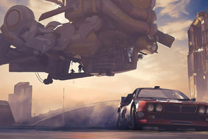 Getting Out Science Fiction Car 4k Wallpaper