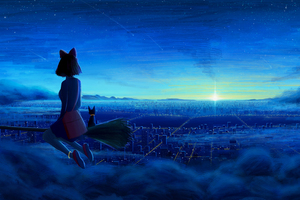 Ghibi Kiki Cityscape Fanart 5k