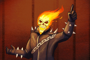 Ghost Rider Cartoony Art 4k