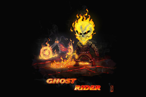 Ghost Rider Chibi Artwork Wallpaper