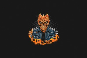 Ghost Rider Dark Minimal 4k Wallpaper