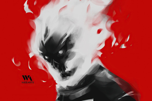Ghost Rider Minimal Paint Art Wallpaper