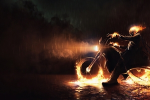 Ghost Rider On Bike Fire Wallpaper