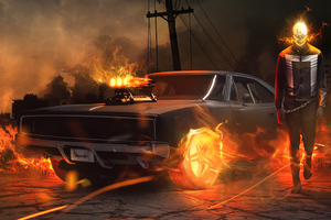 Ghost Rider With Car Wallpaper