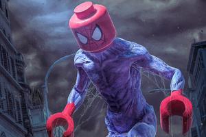 Giant Lego Spiderman In City 4k