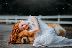Girl And Dog Sleeping 5k Wallpaper