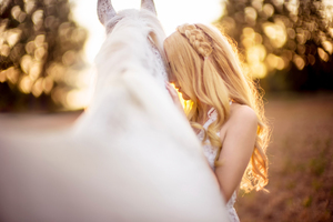 Girl And White Horse