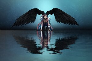 Girl Angel Big Wings Water Reflection 8k