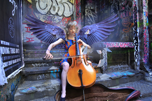 Girl Angel Playing Violin Wallpaper
