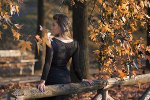 Girl Back View Dress Black Wallpaper