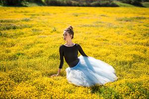 Girl Ballet Dancer Sitting Flower Bed 4k Wallpaper