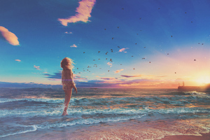 Girl Beach Sunrise Photo Manipulation Wallpaper