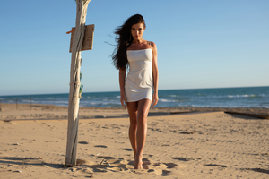 Girl Beach White Dress 5k Wallpaper