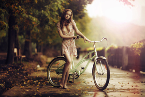 Girl Bicycle 4k Wallpaper