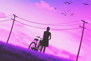 Girl Bicycle Vaporwave Art 4k