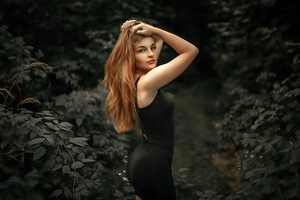Girl Black Dress Hands On Head 4k Wallpaper