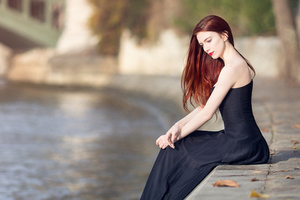 Girl Black Dress Sitting 4k