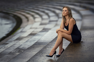 Girl Black Dress Sitting On Stairs 8k Wallpaper