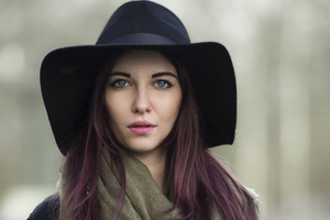 Girl Black Hat Nose Pierced 4k Wallpaper