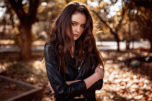 Girl Black Leather Jacket 4k Wallpaper