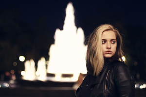 Girl Black Leather Jacket Looking Away Wallpaper
