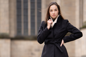 Girl Black Long Coat 5k Wallpaper