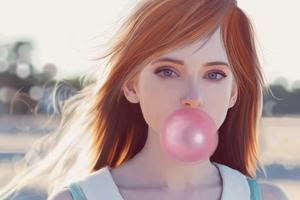 Girl Blowing Bubble Gum