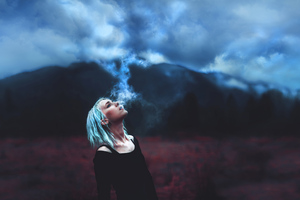 Girl Blowing Clouds 4k Wallpaper