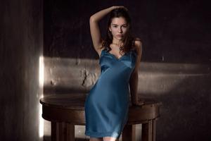 Girl Blue Dress 5k Wallpaper