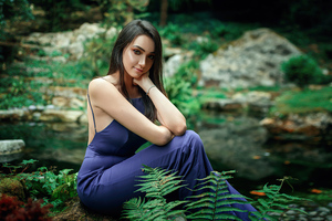 Girl Blue Dress Forest 5k Wallpaper