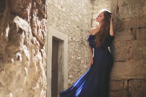 Girl Blue Dress Hands In Hair 4k Wallpaper