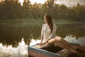 Girl Boat Evening Photography 4k Wallpaper