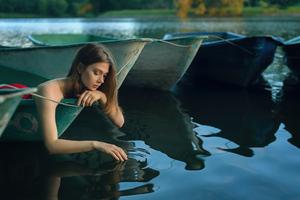 Girl Boat Lake Silence Wallpaper