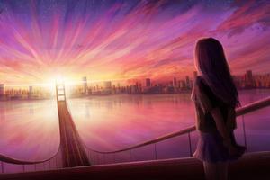Girl Bridge Cityscape Digital Art 4k