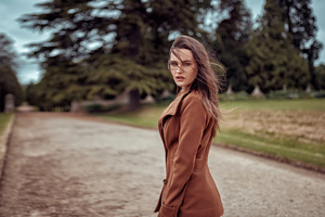 Girl Brown Coat Looking Back 4k Wallpaper