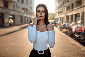 Girl Brunette Street Photography 4k Wallpaper