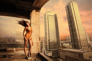 Girl Building Architecure Hairs In Air Wallpaper
