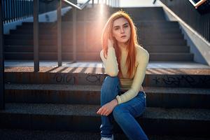 Girl Casual Sitting Stairs Sunbeams 4k Wallpaper