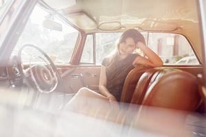 Girl Cat Sitting Vintage Car 4k Wallpaper